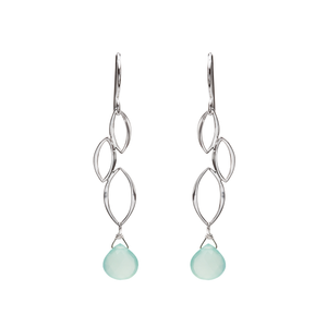 Ella Three Leaf Cascade Earrings with Gemstones