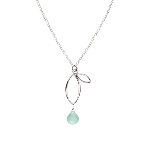 Ella Small Sprout Necklace with Gemstone
