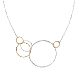 two tone five circle necklace