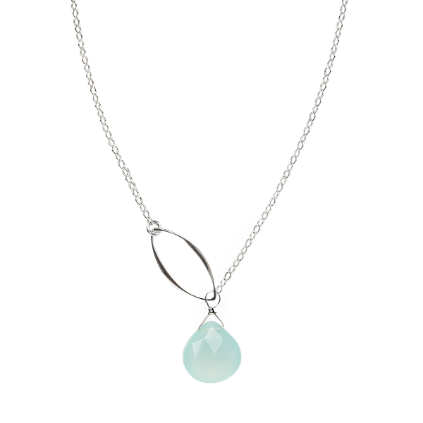 silver leaf and gemstone lariat necklace