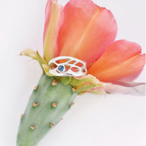 Opuntia Slender Handmade Cactus Ring with Gemstone