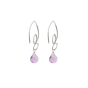 Ella Small Leaf Hook Earrings with Gemstones