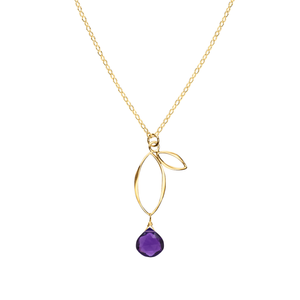 Ella Gold Small Sprout Necklace with Gemstone