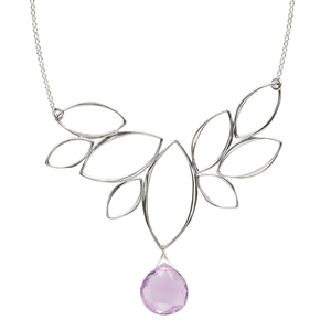 Ella Windy Leaves Necklace with Gemstone