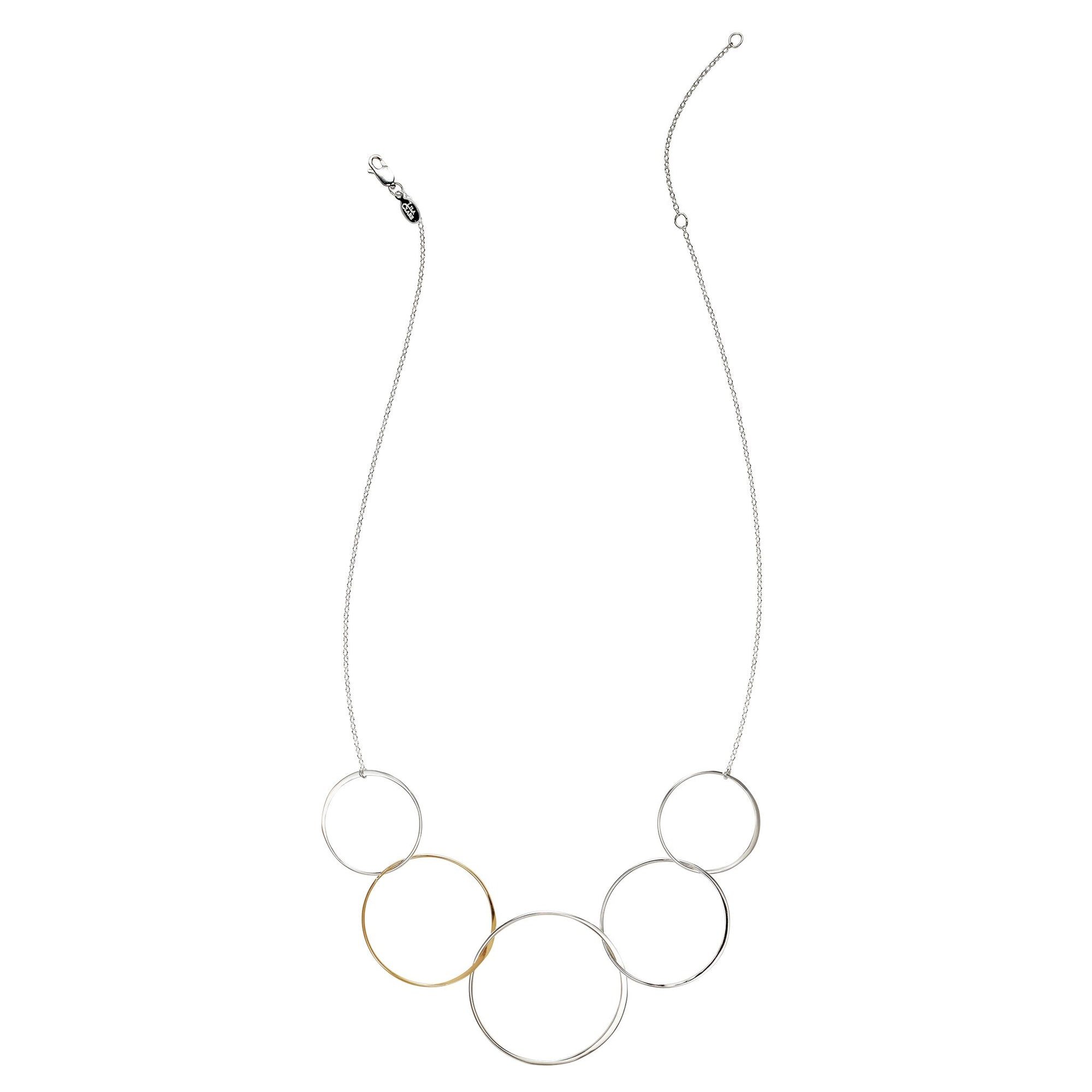 Cynthia XL Five Gold & Silver Linked Circle Necklace