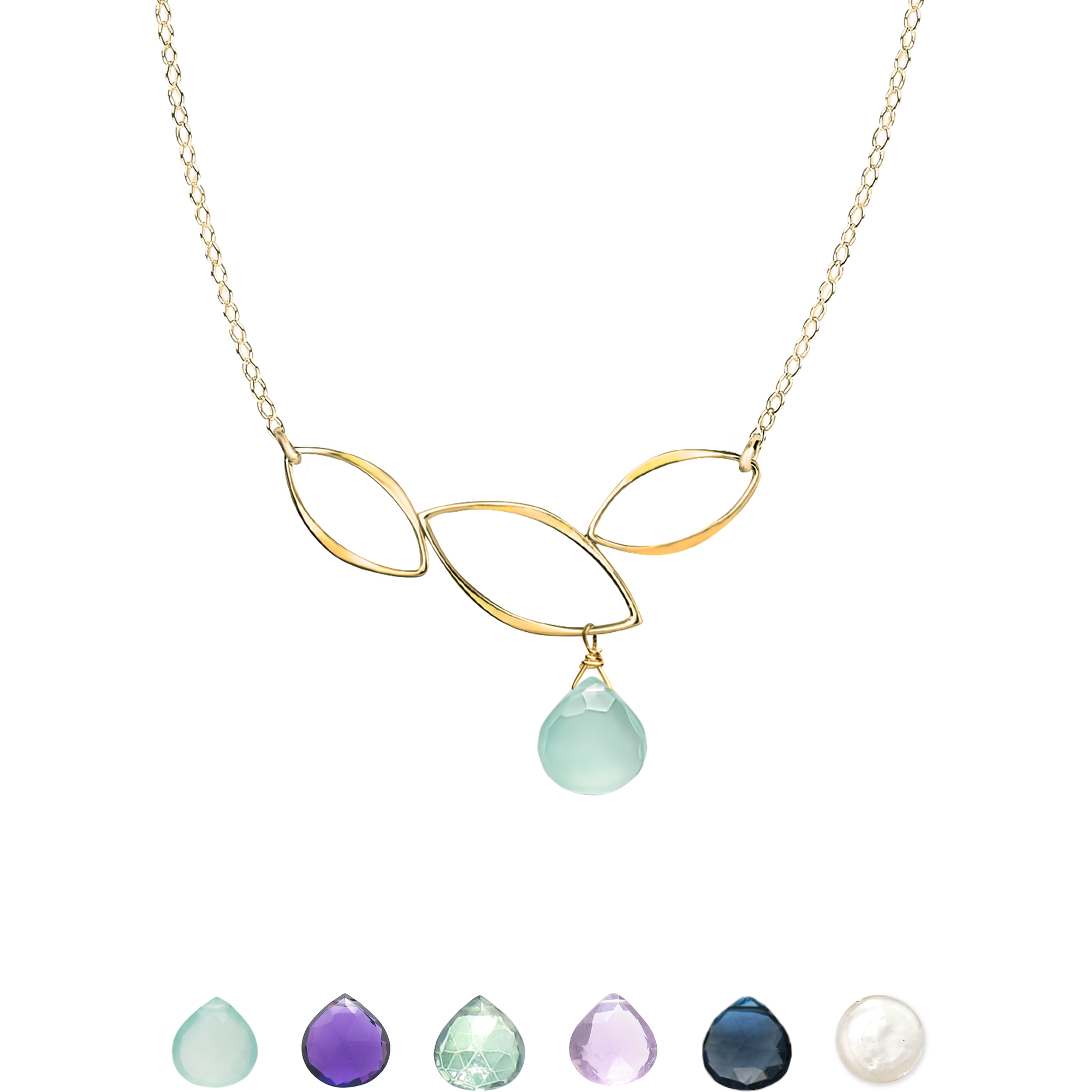 Ella Gold Three Leaf Bar Necklace with Gemstone