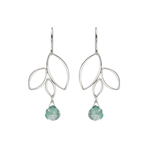 Ella Three Leaf Drops Earrings with Gemstones