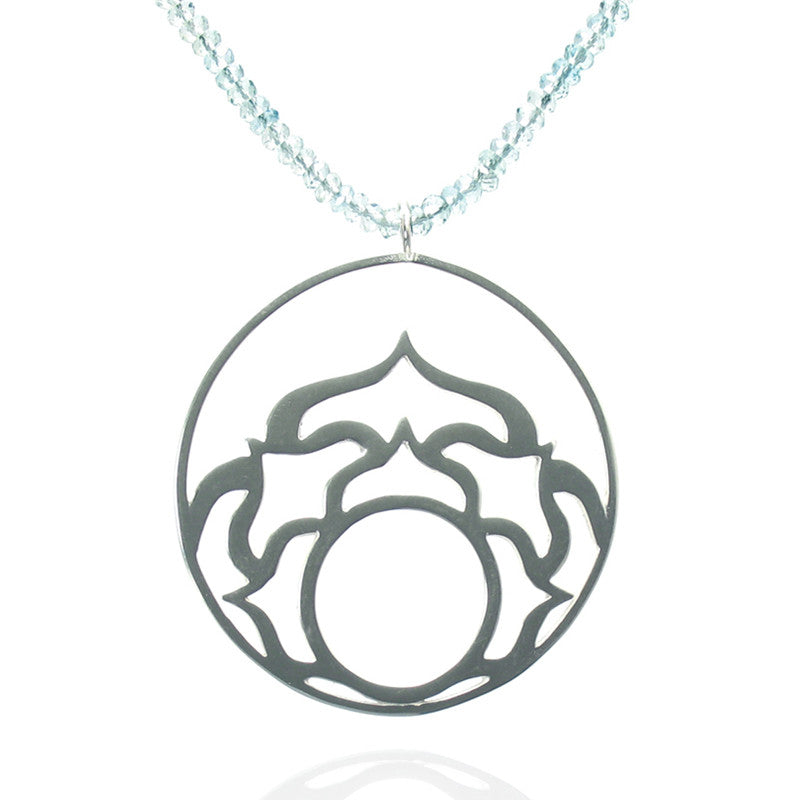 Vivum Succulent Necklace - Large Circle on Gemstone Chain