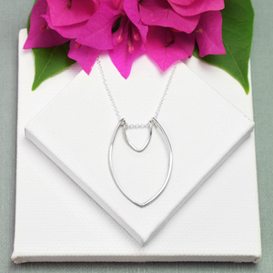 Amulet Small Silver Two Petal Necklace