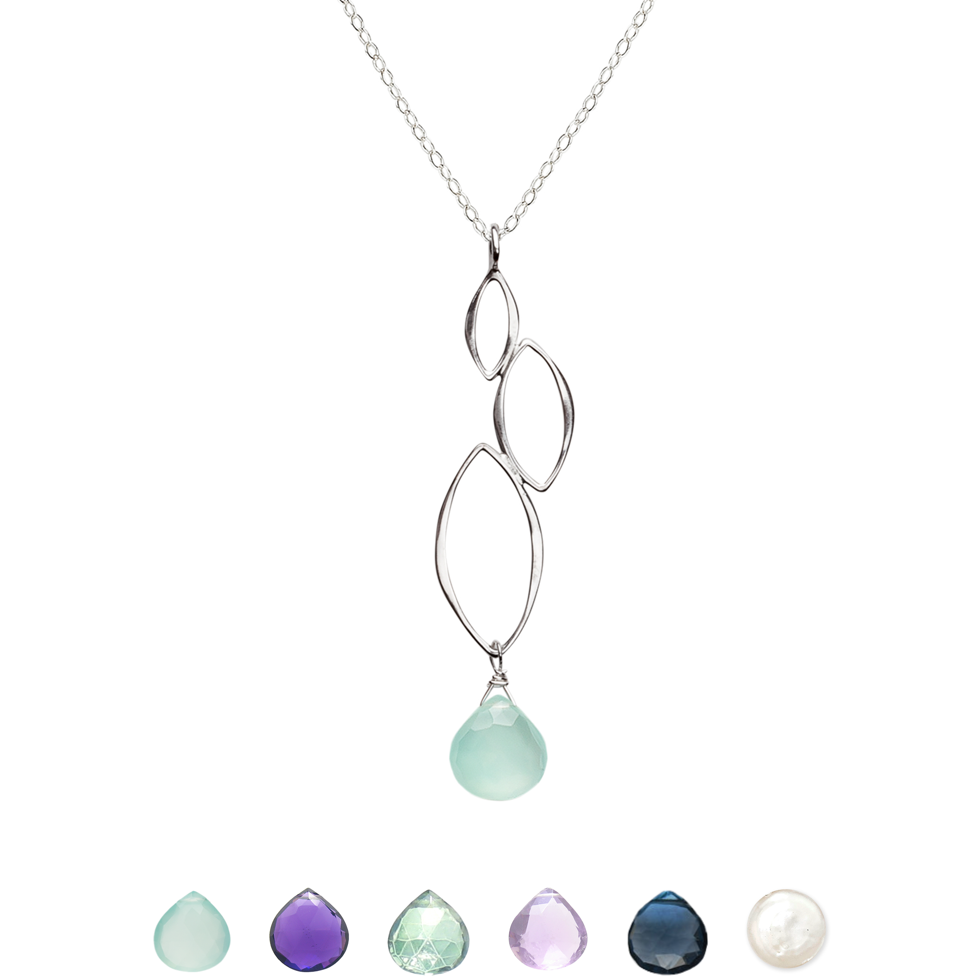 Ella Three Leaf Cascade Necklace with Gemstone