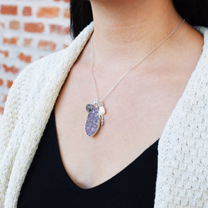 Marquis Amethyst Druzy Necklace with Gray Moonstone and Pearl