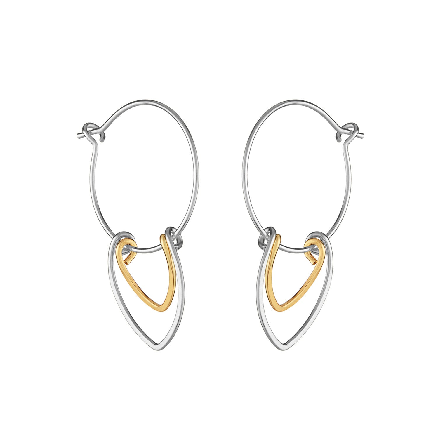 Amulet Small Silver and Gold Petal Hoop Earrings