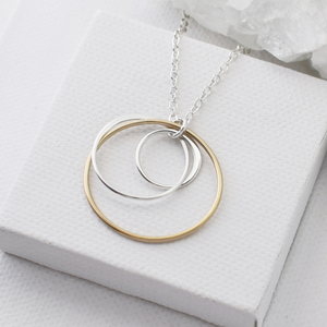 two tone multi circle necklace