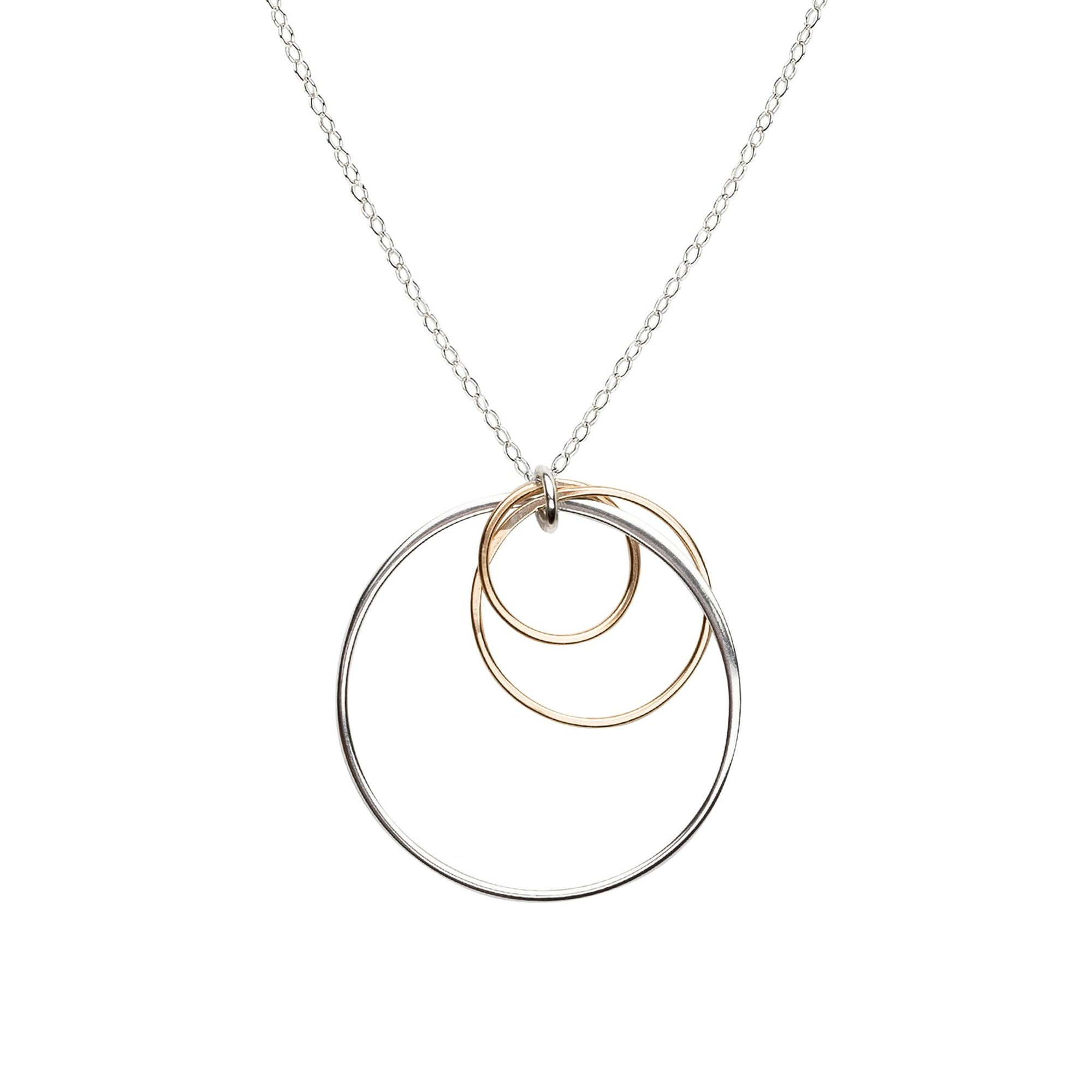 Cynthia Silver & Gold Dangle Cluster Circle Necklace