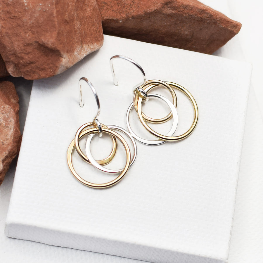 handmade cluster circle earrings