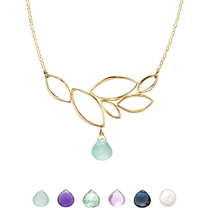 Ella Gold Leaf Cluster Necklace with Gemstone