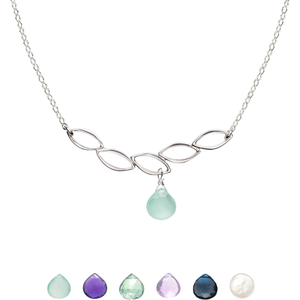 Ella Five Leaf Bar Necklace with Gemstone