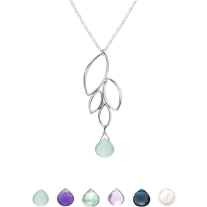 Ella Four Leaf Drop Necklace with Gemstone