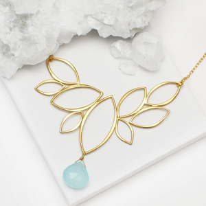 Ella Gold Windy Leaves Necklace with Gemstone