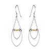 Protection Double Silver Petal Chandelier Earrings with Gold Beads
