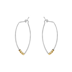 Protection Medium Silver Petal Hoop Earrings with Gold Beads