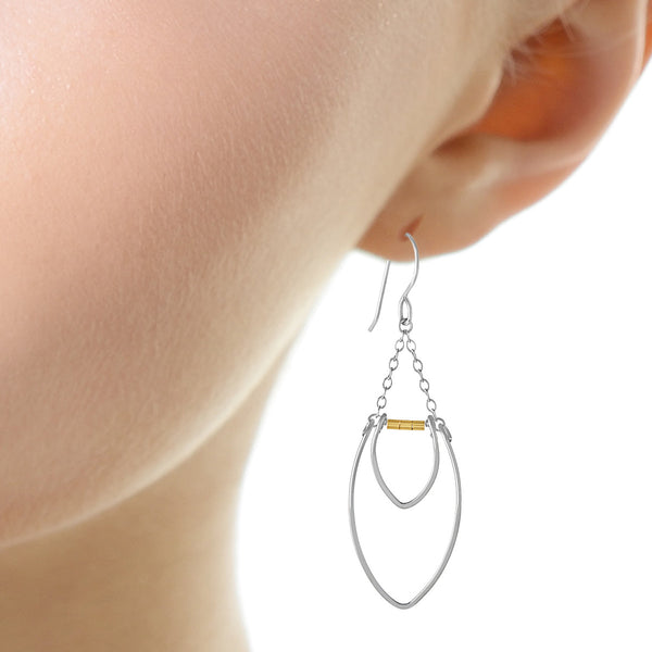 Protection Large Double Silver Petal Chandelier Earrings with Gold Beads