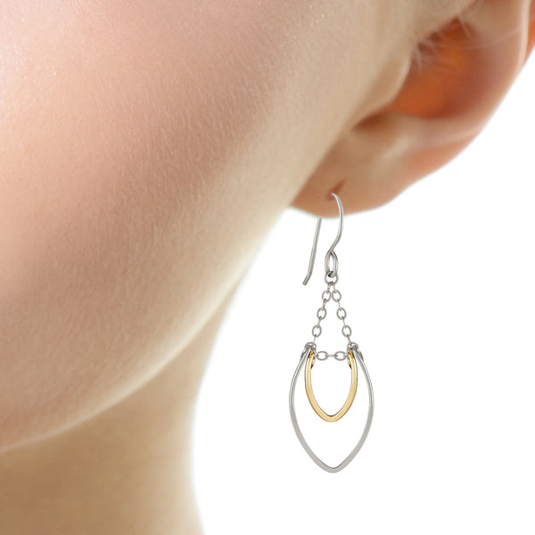 Protection Silver and Gold Petal Chandelier Earrings