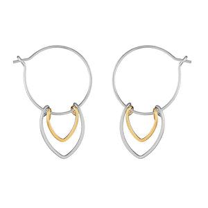 Protection Small Silver and Gold Petal Hoop Earrings
