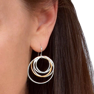 Cynthia Medium Silver & Gold Nest Circle Earrings