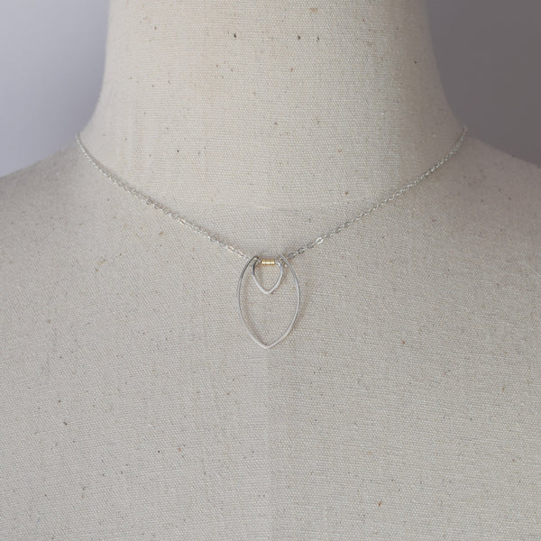 Protection Small Silver and Gold Bead Two Petal Necklace