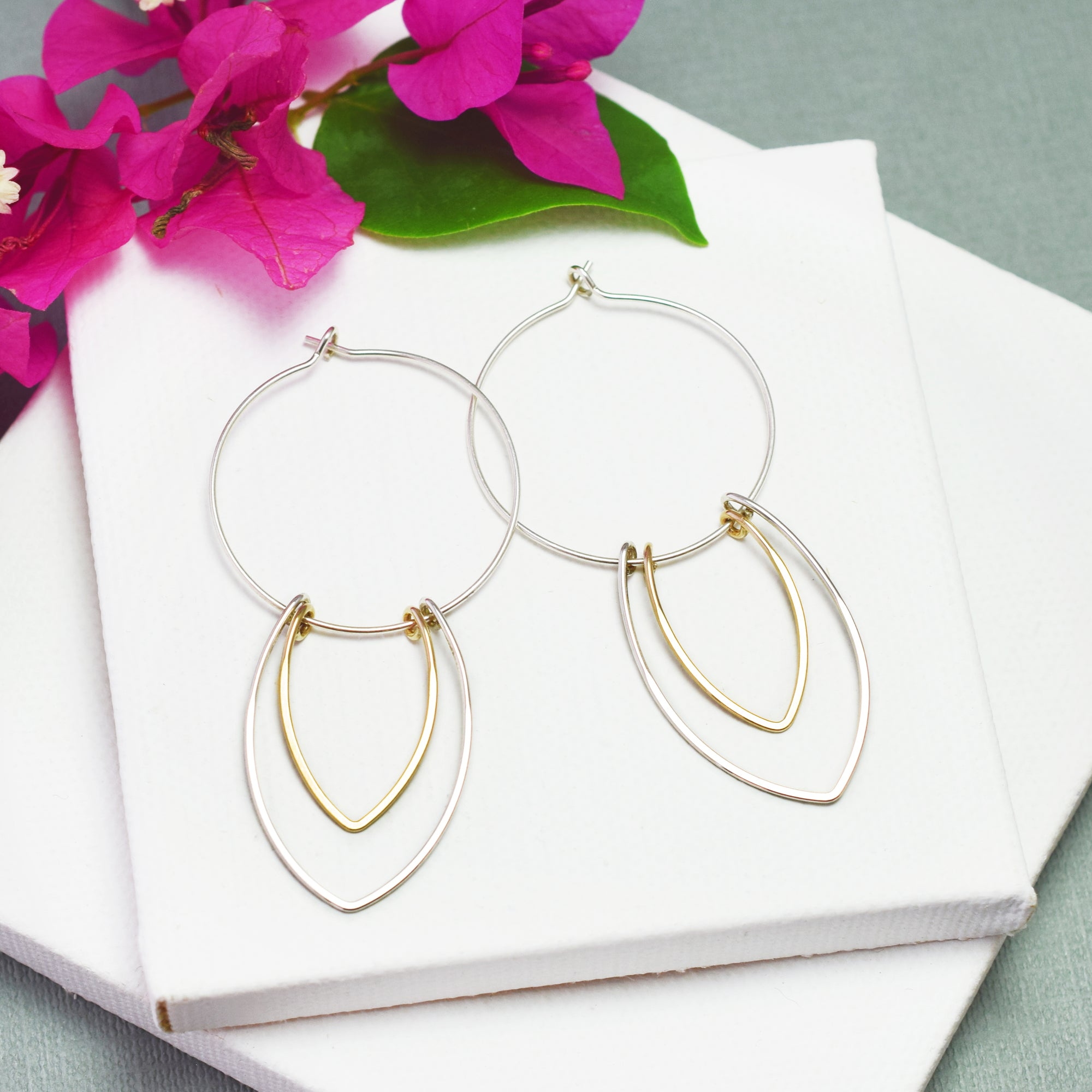 Amulet Silver and Gold Petal Hoop Earrings