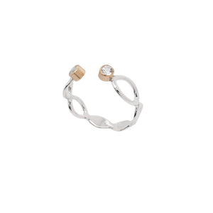 Arbor Open Leaf Cuff Ring with Gold Settings and Gemstone