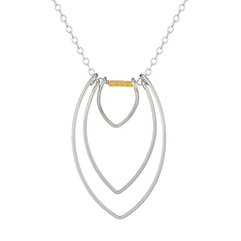 Protection Silver Three Petal Necklace with Gold Beads