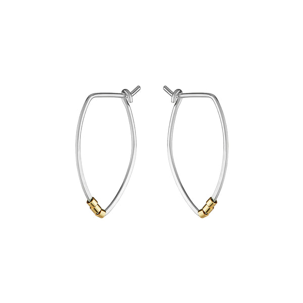 Protection Small Silver Petal Hoop Earrings with Gold Beads