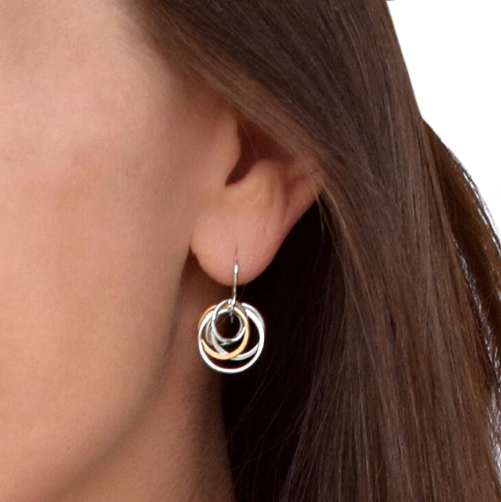 Cynthia Small Silver & Gold Nest Circle Earrings
