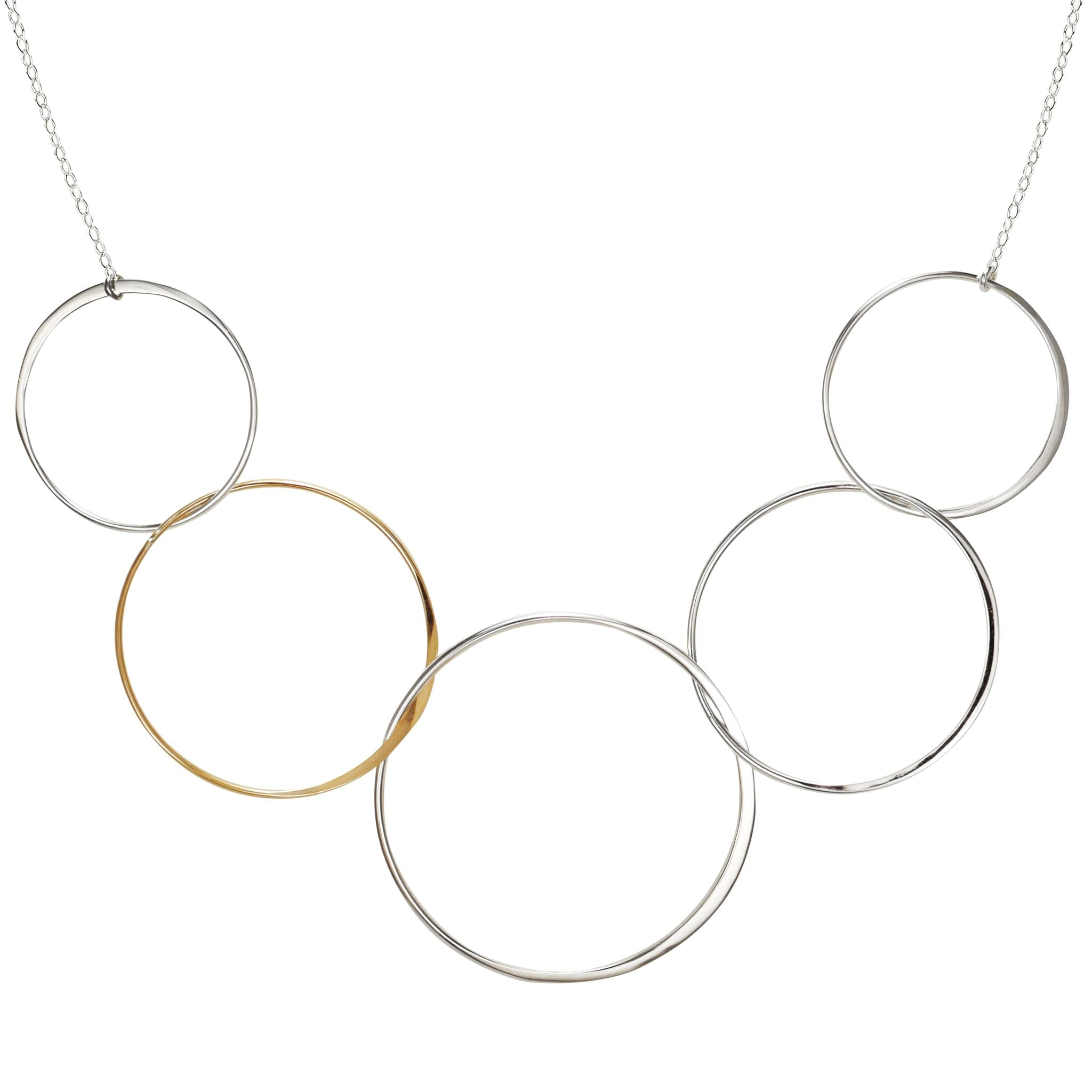 Circle Necklace Linked Circle Necklace SALE Gold and Silver XL Five Circle Necklace Mixed Metal Circle Necklace