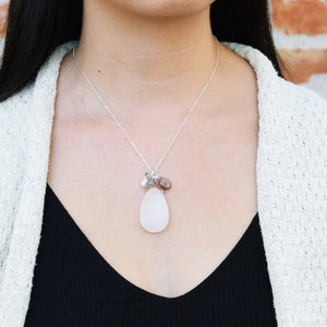 Teardrop Quartz Druzy Necklace with Chocolate Moonstone and Pearl