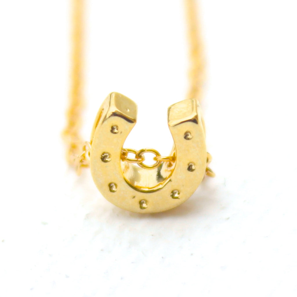 3D Lucky Charm Necklace - 18k Gold Horseshoe Charm Necklace