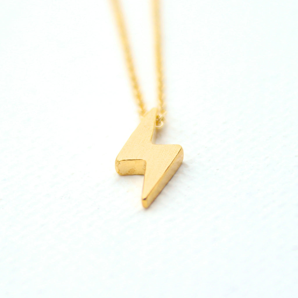 3D Electric Necklace - 18k Gold Mini Lightening Bolt Charm Necklace