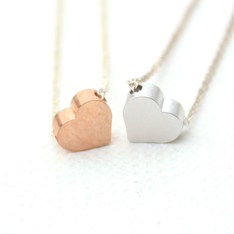 3D Heart Necklaces - 18k Gold Pendant Charm Necklace