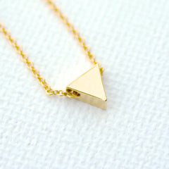 3D Mini Triangle Necklace - 18k Gold Small Triangle Charm Necklace