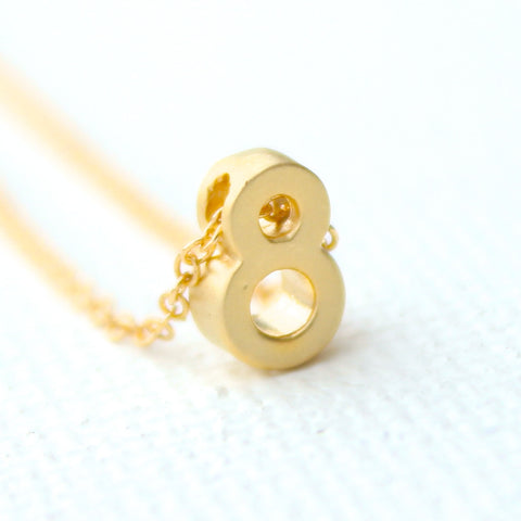 3D Lucky Number Necklace - 18k Gold Mini Number Charm Necklace