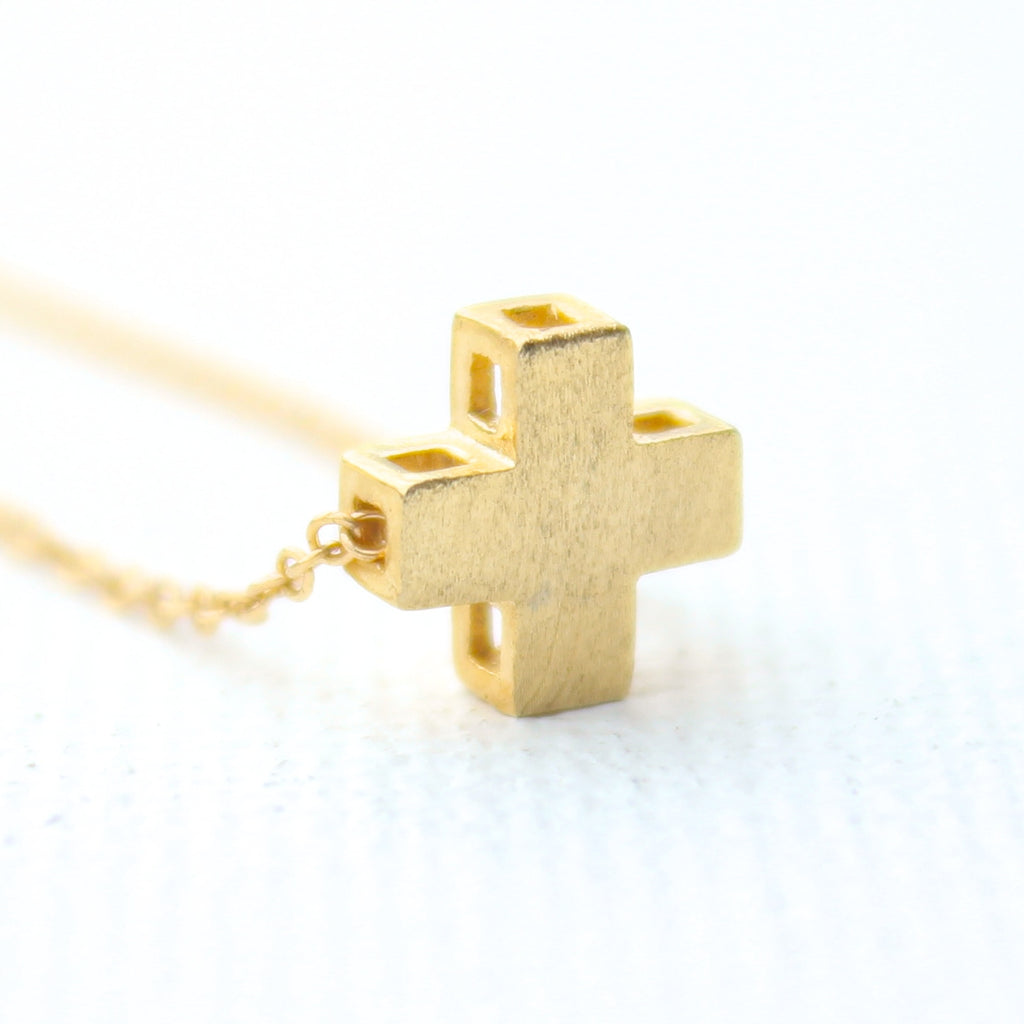 3D Positive Necklace - 18k Gold Mini Plus Sign Cross Charm Necklace