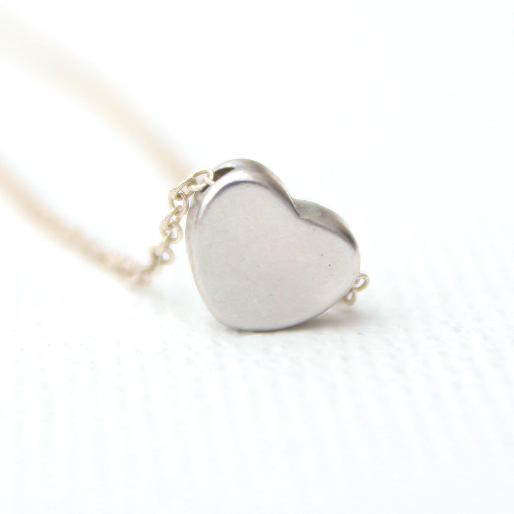3D Rounded Heart Necklace - Rhodium Charm Necklace