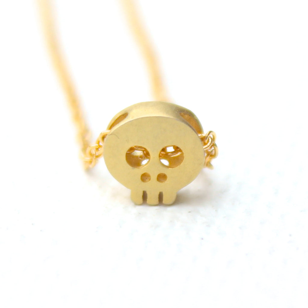 3D Mini Skull Necklace - 18k Gold Mini Skull Charm Necklace