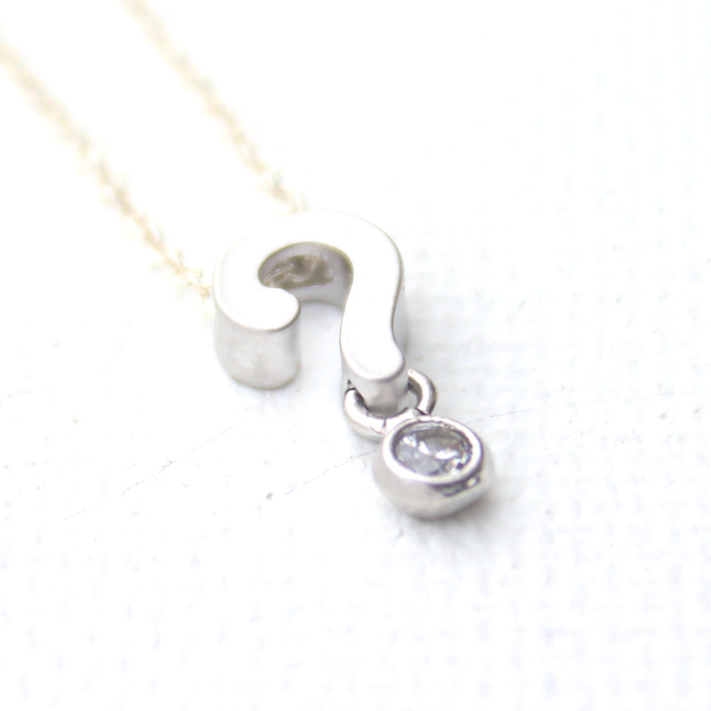 3D Question Mark Necklace - Rhodium Question Mark Charm Necklace
