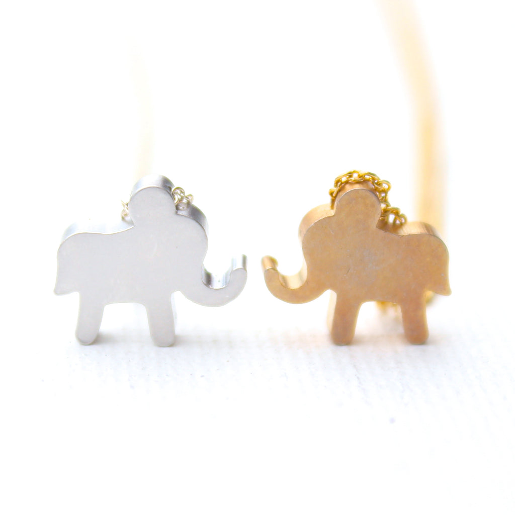 3D Baby Elephant Necklaces - 18k Gold and Rhodium & Sterling Silver Baby Elephant Charm Necklaces