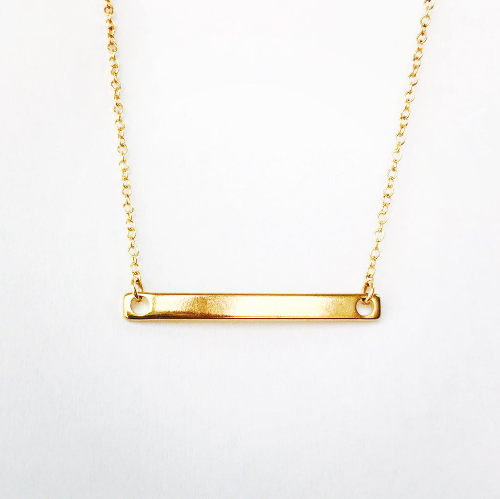 Skinny Gold Bar Necklace - 18k Gold Necklace