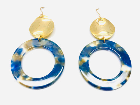 Kingston Wave Earrings - 18k Gold and Hand Poured Resin Charm Earrings
