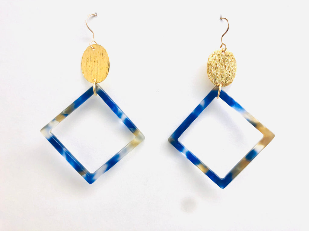 Kingston Square Earrings - 18k Gold and Hand Poured Resin Charm Earrings